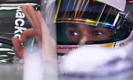 Lewis Hamilton of Mercedes prepares to drive during a practice session for the F1 Spanish Grand Prix