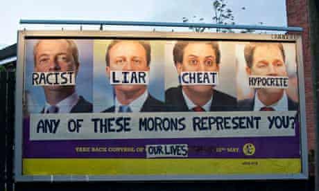 A vandalised Ukip election billboard in Nottingham
