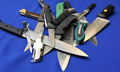 Some knives seized by police.