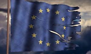 Tattered EU flag