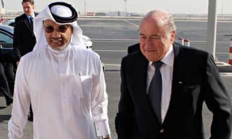 Mohamed Bin Hammam and Sepp Blatter meet in Doha, in 2010.