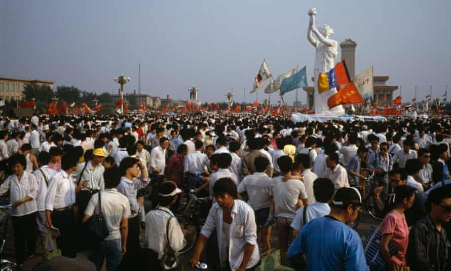 Tiananmen Square protests. 'Goddess of Democracy' statue on 30 May 1989.