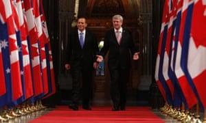 Canada's Prime Minister Stephen Harper and his Australian counterpart Tony Abbott.