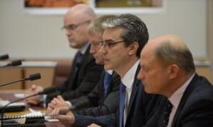 G4S representatives John McCaffery, Kevin Pye, Darryn Boyd amd Chris Manning at the Senate inquiry.