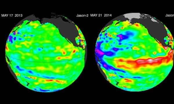 El Nino Sea surface temperature in May 2013 and May 2014