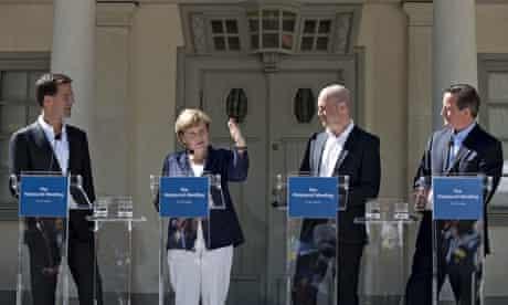 (From l) Dutch PM Mark Rutte, Angela Merkel, Swedish PM Fredrik Reinfeldt and David Cameron.