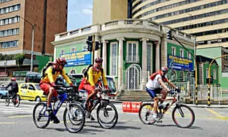 Ciclovia, people on bikes on sunday, when streets closed to cars, Bogota, Colombia