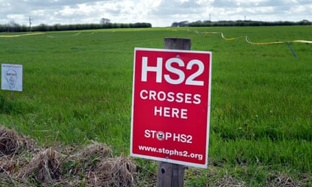 Protest signs against HS2 at a field west of Manchester