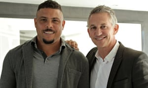 Gary Lineker with (the original) Ronaldo. Lineker in Brazil: The Beautiful Game. Photograph: BBC