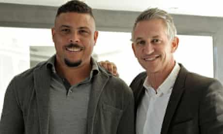 Gary Lineker with (the original) Ronaldo. Lineker in Brazil: The Beautiful Game. Photograph: BBC