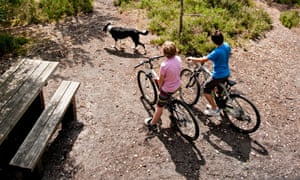 Two boys and a dog cycling at Moors Valley Country Park, Dorset