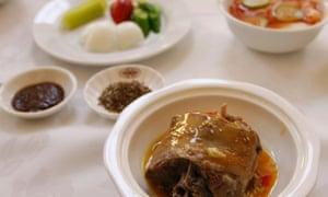 Dog meat or dan go gi in a Pyongyang restaurant.