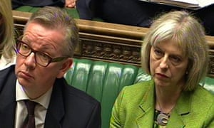 On manoeuvres … Michael Gove and Theresa May in the House of Commons.