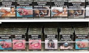 Plain cigarette packets on display in Sydney, Australia