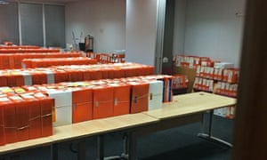 Leaked photograph of passport application files at HM Passport Office in Liverpool