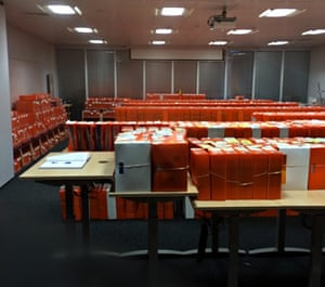 Application files at HM Passport Office in Liverpool
