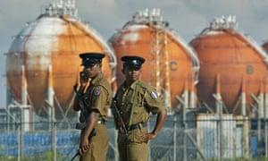 Sri Lankan police officers in Colombo
