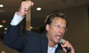 Dave Brat addresses supporters after beating Eric Cantor in Tuesday's Republican primary for the 7th Congressional District in Virginia.
