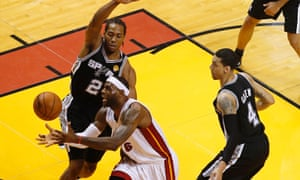 San Antonio Spurs' Kawhi Leonard and Danny Green had LeBron James and the Miami Heat all wrapped up on Tuesday night's NBA Finals Game 3.