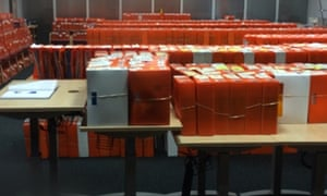 Application files at HM Passport Office in Liverpool.