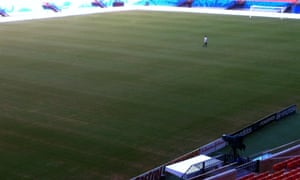 Another image, taken from a different angle, shows better sections of the pitch, although the yellow sections of the playing surface can still clearly be seen.