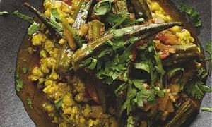 Mung dal with okra and garam masala
