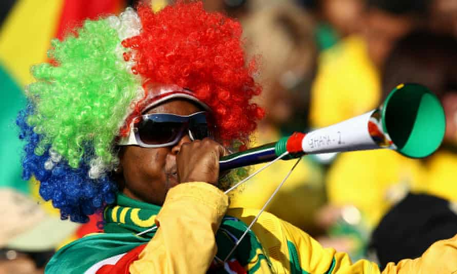 A Ghana fan blows a vuvuzela during the 2010 World Cup in South Africa.