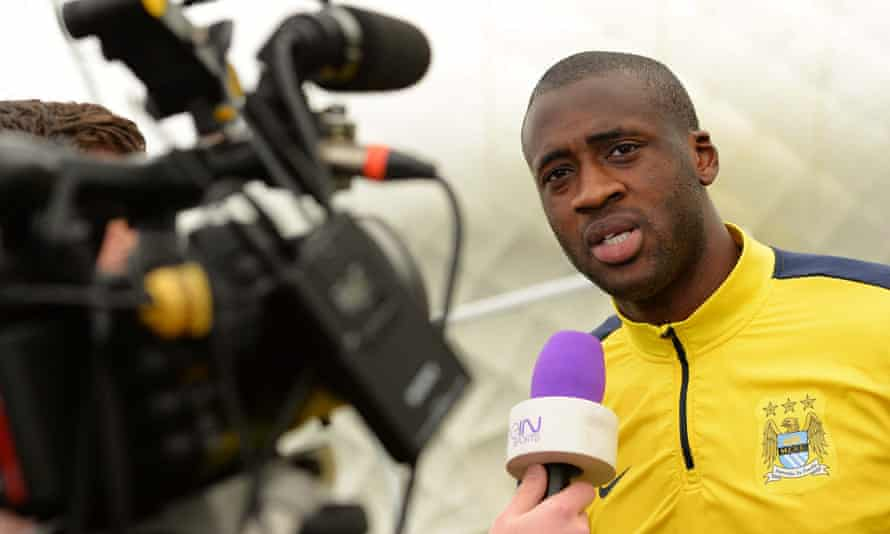 Manchester City's Yaya Toure speaks to the media during the press conference.
