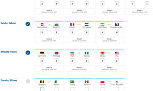 World Cup predictions game