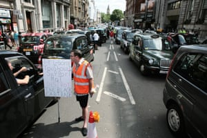 Taxi drivers demonstrate in Whitehall.
