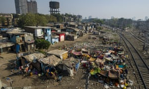 Shacks in Dharavi slum, Mumbai. Some have two storeys, with a ladder to reach the top floor.