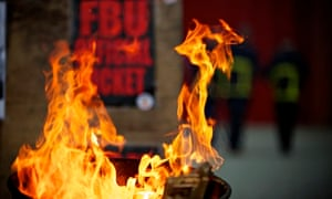 Firefighters strike picket