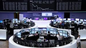 The Frankfurt stock exchange today.