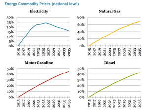 Most commodities see a linear increase in their prices relative to the baseline with the national level, linear increase in the rate.  Electricity, on the other hand, can switch out of carbon-intensive coal and natural gas and into zero-carbon nuclear, wind, and solar, which reduces the impact in the 2020s and 2030s.