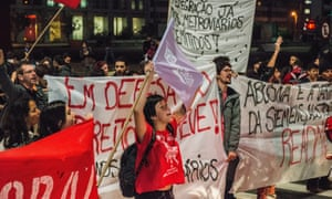 Anti-World Cup protesters in Sao Paulo join forces with transit union workers to protest against their government's handling of public affairs.