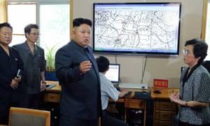 Kim Jong-un inspecting the Hydro-meteorological Service in Pyongyang.
