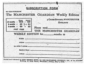 Guardian Weekly subscription form, 4 July 1919