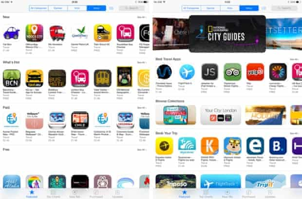 The iPad version of the App Store's travel category homepage.