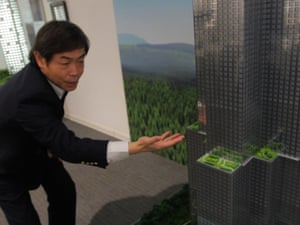 Sky City … Zhang Yue shows off his designs.