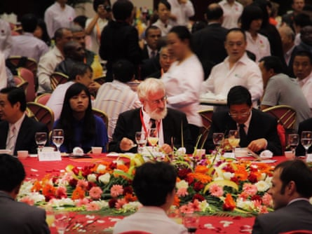 Fish out of water … Eero Paloheimo attends a banquet to promote his Eco Valley scheme.