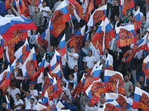 Russia's fans at the 2014 FIFA World Cup Group F round 10 qualifying football match at the Petrovsky Stadium.