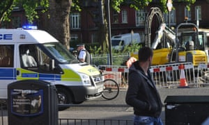 The aftermath of a road crash involving a cyclist and a car in north London on Tuesday, which injured the rider.
