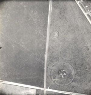 Aerial views of the Stonehenge Ruins, 1944.