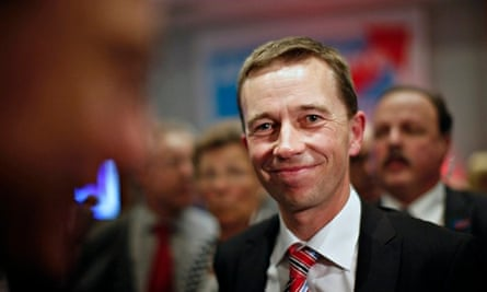 Headshot of a smiling Bernd Lucke, head of the Alternative for Germany party (AfD)