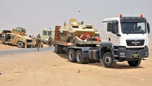 Kurdistan's Peshmerga forces transfer tanks on the borders of Kirkuk city, taking complete control of the disputed city after the Iraqi army withdrew from there.
