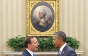 Prime Minister Tony Abbott bids the President farewell under Washington's watchful eye.