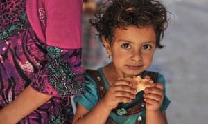 由于伊拉克伊斯兰国和黎凡特夺取摩苏尔难民,看到一名儿童逃离摩苏尔