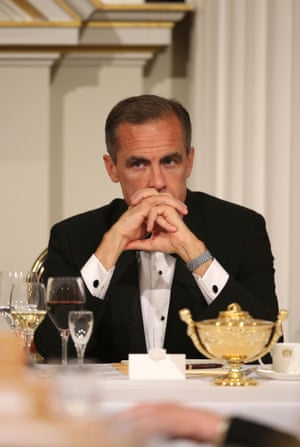 Mark Carney, Governor of the Bank of England, looks on as Chancellor of the Exchequer, George Osborne, speaks at the 'Lord Mayor's Dinner to the Bankers and Merchants of the City of London' at the Mansion House on June 12, 2014 in London, England