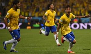 Brazil's forward Neymar celebrates scoring.