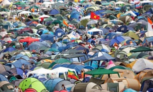 Thousands of tents are left behind after each Glastonbury festival.